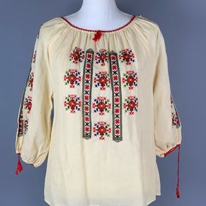 Vintage Mexican Floral Embroidered Tunic Top